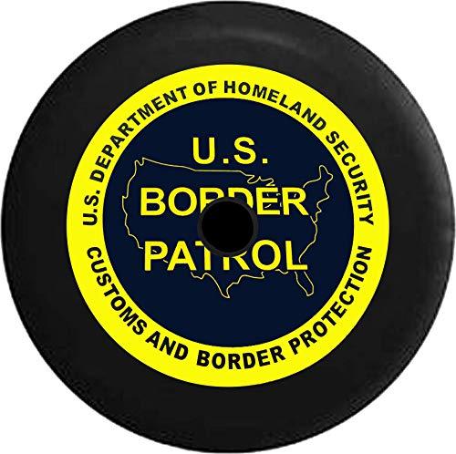 Homeland Security Seal - JL Series Jeep Spare Tire Cover Backup Camera Hole US Border Patrol - Dept Homeland Security Seal Black 32 in