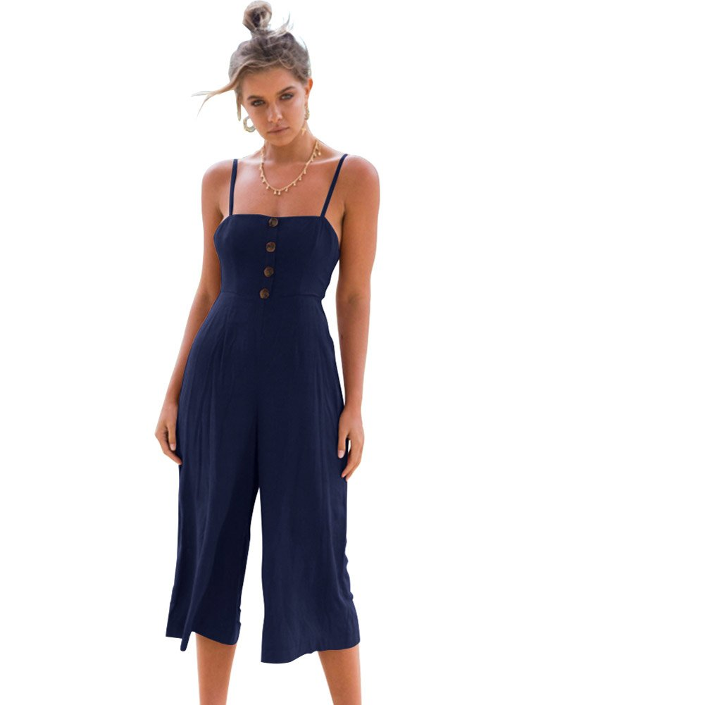 f49514864f2 Amazon.com  Longwu Women s Sexy Spaghetti Strap Jumpsuit Sleeveless Back  Tie Wide Leg Overalls Rompers  Clothing
