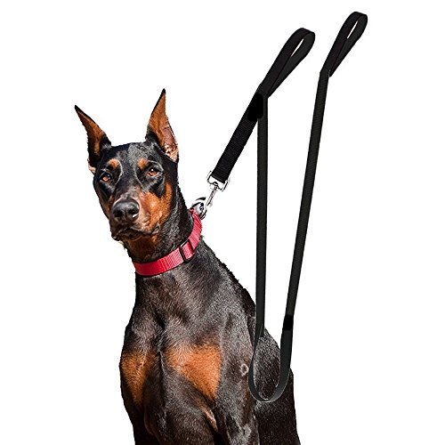 Houseables Extra Long Dog Leash, Double Handle, Dual Padded Grip, 8 ft Length, Black, Heavy Duty, Large/Medium Dogs, 2 Handles, Greater Control Safety Training, Protect Dog in Traffic