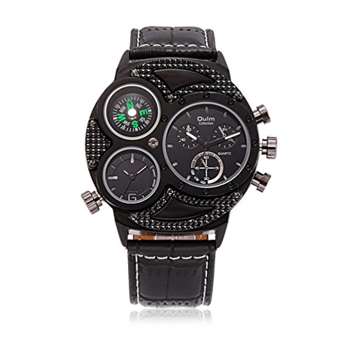Mens Unique Military Analog Wrist Watch Best Automatic Watches With Digital Quartz Movement   Compass Dial   Genuine Leather Band   Black