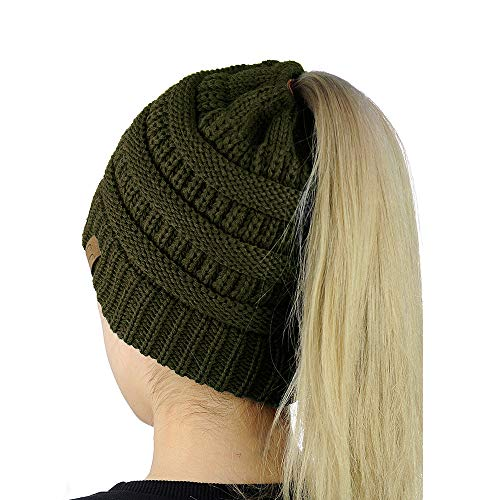 9PROUD New Olive Beanie Winter Hats for Women Warm Stretch Cable Knit Beanie Messy Bun -