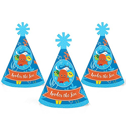 Big Dot of Happiness Under The Sea Critters - Mini Cone Birthday Party or Baby Shower Hats - Small Little Party Hats - Set of 10 by Big Dot of Happiness