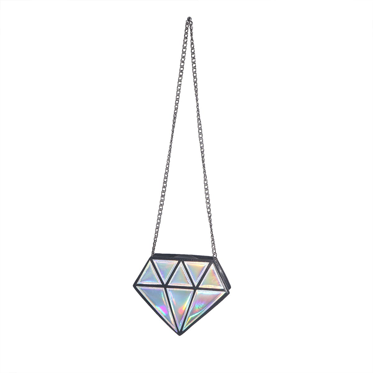 OULII Hologram Shoulder Bags Crossbody Bag PU Leather Bag Diamond Small for Womens Silver
