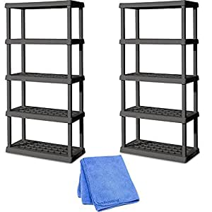 Sterilite 01553V01 5 Shelf Unit, Flat Gray Shelves & Legs, 2-Pack with Dusting Cloth