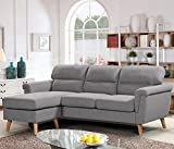 Harper&Bright Designs Modern Linen Fabric Sectional Sofa L Shape Couch with Reversible Chaise Loung (Gray)