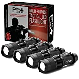 PeakPlus LFX100 Mini Flashlights [4 Pack] - Bright LED Tactical Flashlights with Belt Clip, Zoom, Strobe - Small Pocket EDC Flashlight For Kids, Emergency, Camping
