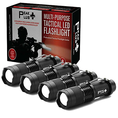 Bright Clip - PeakPlus LFX100 Mini Flashlights [4 Pack] - EDC Flashlight with Belt Clip, Zoom, Strobe - Bright Pocket Tac Light Tactical Flashlights For Kids, Emergency, Camping