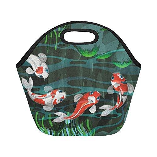InterestPrint Japanese Koi Fishes Pond Reusable Insulated Neoprene Lunch Tote Bag Cooler 11.93'' x 11.22'' x 6.69'', Nautical Green Glass Portable Lunchbox Handbag for Men Women Adult Kids by InterestPrint