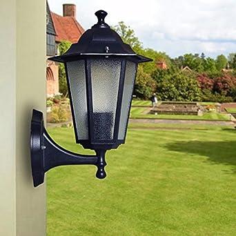 VanMe Patio Jardín Aluminio Vintage Hexágono Exterior Pared Estilo De Lámpara Decoradas Apliques 18.5 * 30 Cm,Bombillas De 15W Negro: Amazon.es: Iluminación