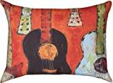 All Strung Up Guitar Indoor/Outdoor Weather Resistant Fabric Pillows (Set of two 24 x 18 inch)