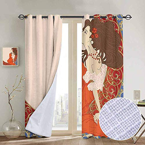 (NUOMANAN Grommet Curtains Art Nouveau,Antique Woman in an Old Fashioned Medieval Dress Floral Rich Framework Print,Multicolor,Blackout Draperies for Bedroom Window)