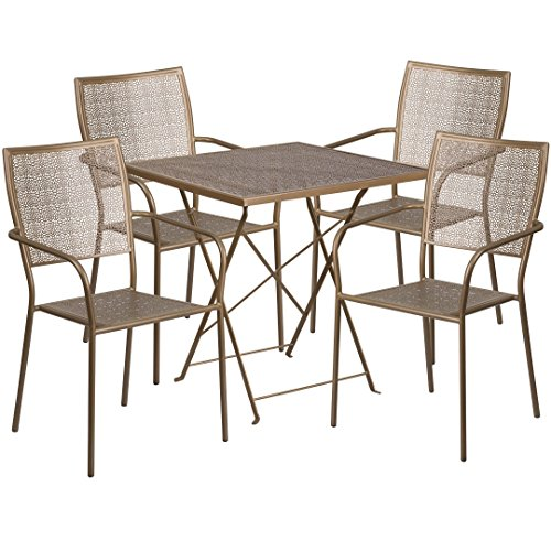 MFO 28'' Square Gold Indoor-Outdoor Steel Folding Patio Table Set with 4 Square Back Chairs