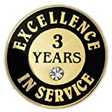 PinMart's Gold Plated Excellence in Service Enamel Lapel Pin w/ Rhinestone - 3 Years