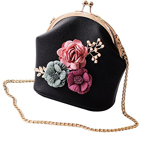 Tote Ladies Clearance Flowers Black Fashion Shoulder ZOMUSA Bag Purse Small Stereo qfS0q