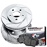 Power Sport Slotted Brake Rotors and Ceramic Brake Pads Kit -81118 [REARS]