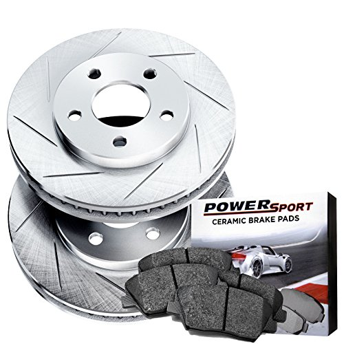 Power Sport Slotted Brake Rotors and Ceramic Brake Pads Kit -81376 [REARS] by Power Sport