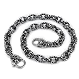LINSION 16'' ~ 36'' Double Heart 316L Stainless Steel Mens Rocker Wallet Chain 5S003WC Silver Color 3P6 (18 Inches)