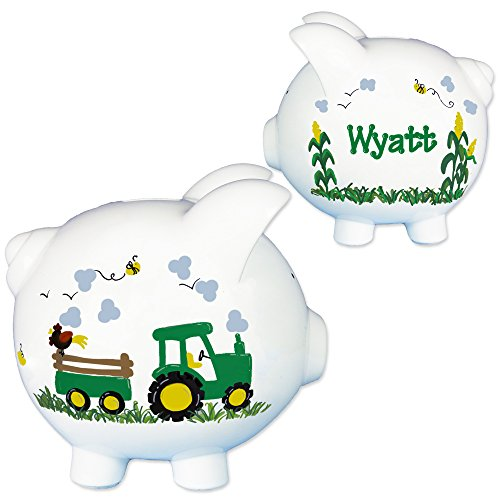 Hand Painted Personalized Green Tractor Piggy Bank for Boys Farm Nursery