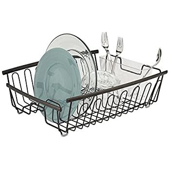 mDesign Kitchen Dish Drainer Rack for Drying Glasses, Silverware, Bowls, Plates - Bronze/Clear