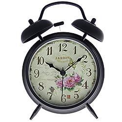 JustNile Retro Bedside Double Bell Silent Alarm Clock - 4-inch Vintage Flower w/ Butterfly