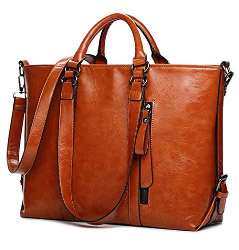 Leather Tote Bag for Women, Vintage Style Leather Top-Handle Bags Tote Shoulder Bag Handbag Crossbody Bag (Tote Bag Handbag Leather Laptop)