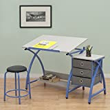 Studio Designs Blue Comet Center Hobby and Craft Table with Stool