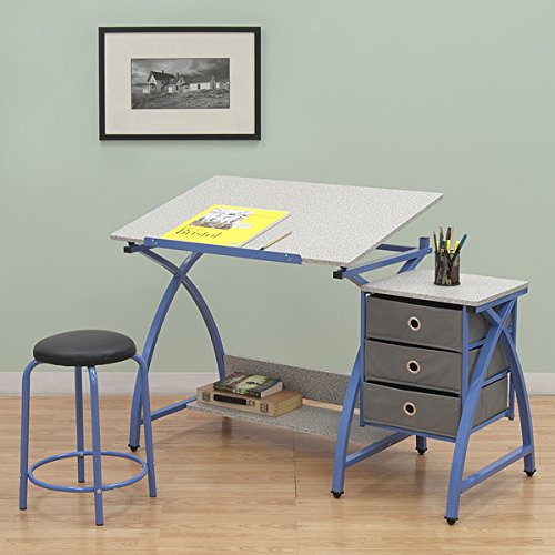 Studio Designs Blue Comet Center Hobby and Craft Table with Stool by Studio Designs
