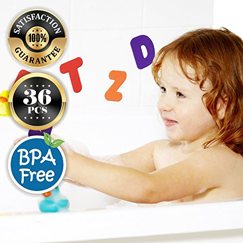 Eutuxia Bath Toys, Mini Alphabet Letters & Number Pieces. Bathtime Fun and Educational Learning for Toddlers, Babies, and Kids. Floats in Water, Sticks on Tile Walls. Safe Non-Toxic EVA Foam. [36 Pcs] (Bath No Wall Color)