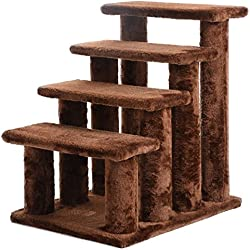 EE 21'' Cat Tree Pet Ramp 4-Step Stairs Dog Ladder Stairway Perch Scratcher Coffee