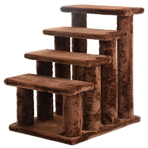 21'' Cat Tree Pet Ramp 4-Step Stairs Dog Ladder Stairway Perch Scratcher Coffee