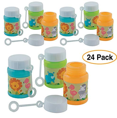 Zoo Animals Mini Bubble Bottles (24 Pack) for Birthday Party favors goodie bags ()