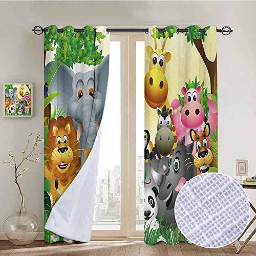 Biltmore Five Light - NUOMANAN Room Darkening Wide Curtains Kids,Cute Animals in Jungle Elephant Giraffe Panda Bear Pig Lion Hippo Rhino Cartoon Art,Multicolor,Light Blocking Drapes with Liner 100