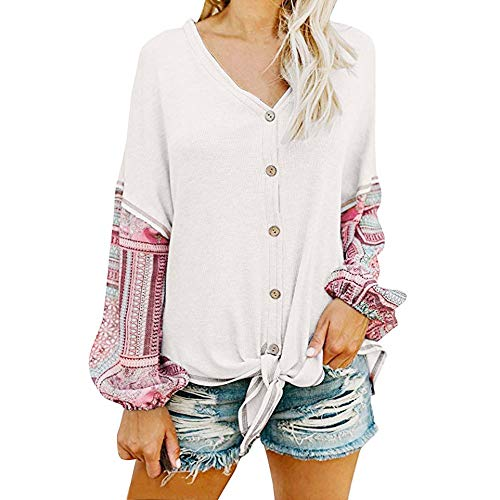 Womens Loose Blouse Patchwork Long Sleeve V Neck Button Down Stripe Button Tie Knot Front Henley Shirt T Shirts Tie Front Knot Casual Tops
