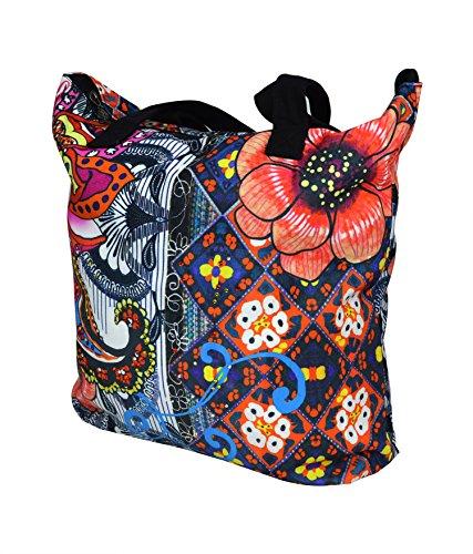 Multicolore spalla Canvas Tote Borsa con motivo floreale e Rinestone rattoppato