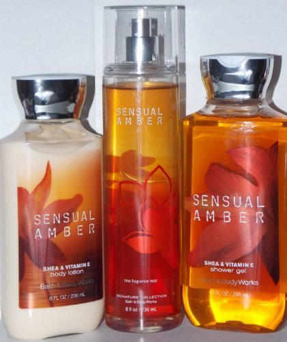 - 3 Piece Bath & Body Works Sensual Amber Fragrance Gift Set- Fragrance Mist, Shower Gel, and Body Lotion (Sensual Amber)