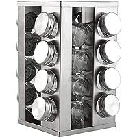 Kit 16 Porta Condimentos Vidro e Inox c/Base Giratória Casa