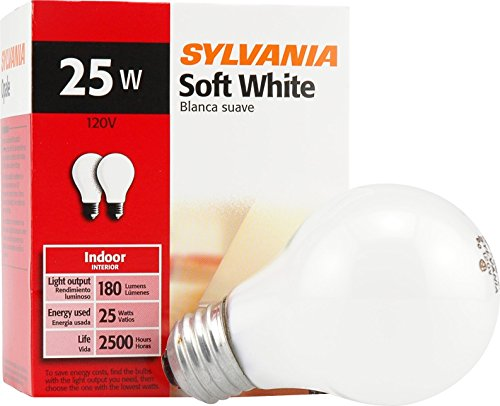 Black Sylvania Light Bulb - SYLVANIA Home Lighting 10562 Incandescent Bulb, A19-25W-2850K, Soft White Finish, Medium Base, Pack of 2