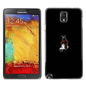 // PHONE CASE GIFT // Duro Estuche protector PC Cáscara Plástico Carcasa Funda Hard Protective Case for Samsung Note 3 N9000 / Bear on Motorcycle /