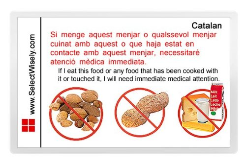 Nuts, Peanuts and Milk Allergy Translation Card - Translated in Farsi or any of 67 languages by SelectWisely