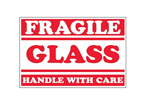RetailSource DL1058x1 2 x 3 -Fragile - Glass - Handle With Care Labels, 2.25' Height, 4.75' Length, 4.75' Width (Pack of 500) 2.25 Height 4.75 Length 4.75 Width (Pack of 500) RetailSource Ltd