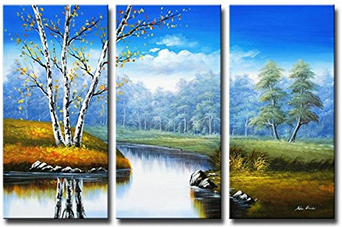 Ode-Rin Hand Painted Oil Paintings Gift Rivers Forest Natural Landscape Wood Framed 3-piece Wall Decoration(14x28Inchx3)