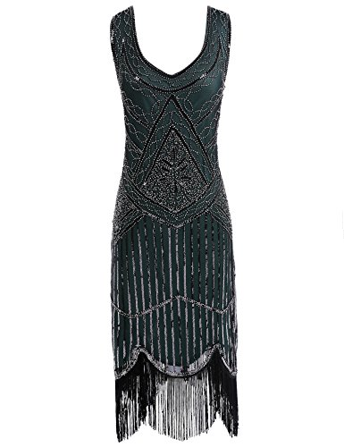 Hem Women's 1920s Dress Flapper Beaded Girl Sequin Tassels Vintage Flapper Green Dark t5ZwF0wxq4