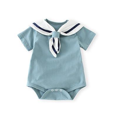 cfc3cb141cbb ALLAIBB Newborn Girls Boys Romper Sailor Collar Short Sleeves Pink Blue   Amazon.co.uk  Clothing