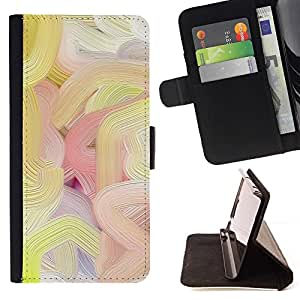 For HTC Desire 820 Case , Líneas de colores de pintura al óleo del arte de la primavera- la tarjeta de Crédito Slots PU Funda de cuero Monedero caso cubierta de piel