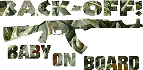 Antler camo Back Off Baby on Board Sticker Decal