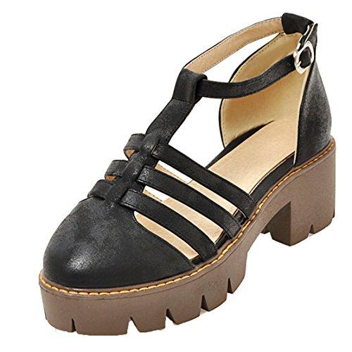 AIYOUMEI Damen T-spangen Chunky Heel Knöchelriemchen Geschlossen Sandalen mit 6cm Absatz Bequem Schuhe Schwarz