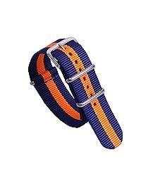 22mm Dark Blue/Orange High-level Multicolor Nylon Perlon NATO style Watch Straps Bands for Men