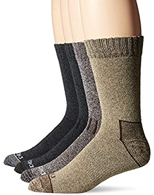 Men's 4 Pack Marled Moisture Control Accented Heel Toe Crew Socks, Assorted, 10-13 Sock/6-12 Shoe