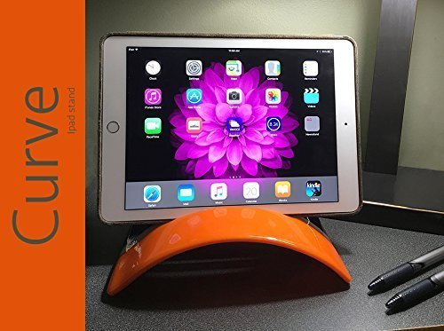CURVE STAND for iPad/tablet, Fused Glass Tablet Holder (iPhone, iPad, Kindle Fire, Samsung Edge and Galaxy), Glass Tablet Stand, Kindle Fire Stand, Orange and Transparent Blue with White Tabs
