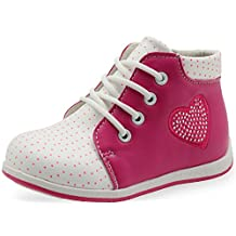 Sunny&Baby Toddler Girls Shoes Lace Up Ankle Boots Rhinestone Decor Genuine Leather Insole Arch Support Side Zipper Closed Toe Comfort Upper